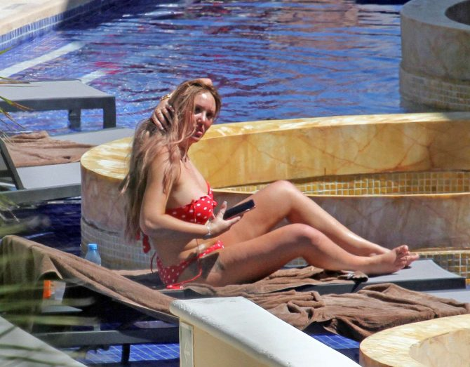 Charlotte Crosby in Red and White Polkadot Bikini in Mexico
