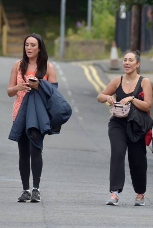Charlotte Crosby, Sophie Kasaei and Abbie Holborn go make-up free out for a walk