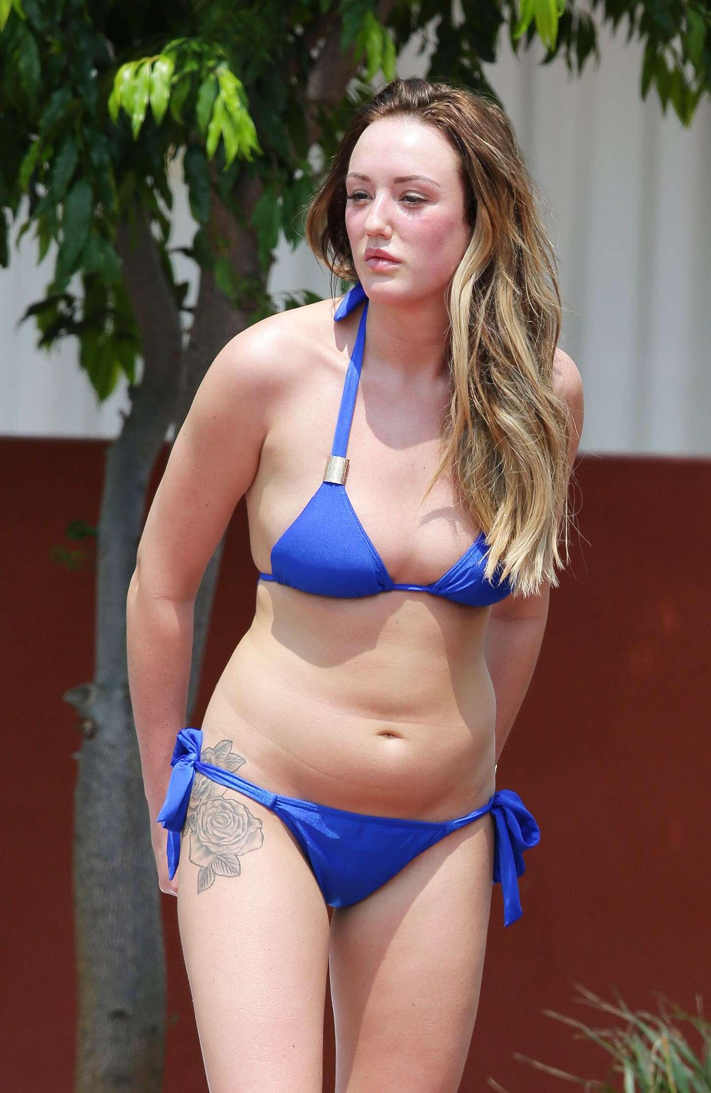Charlotte Crosby in Blue Bikini in Australia