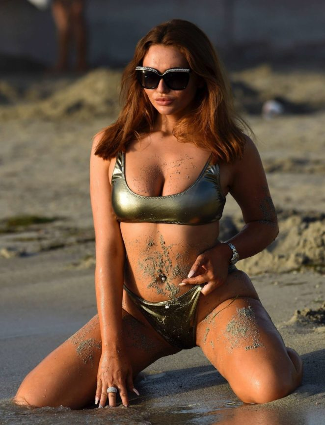 Charlotte Dawson in Bikini on the beach in Majorca