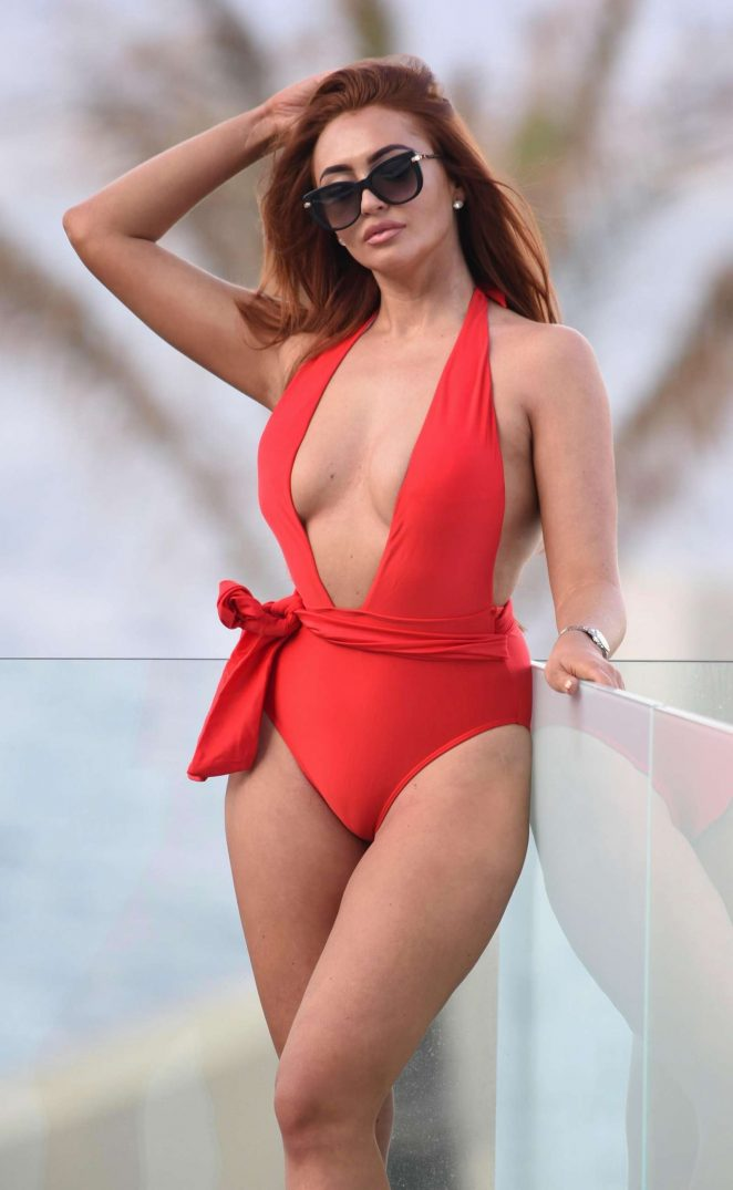 Charlotte Dawson in Red Swimsuit in Barcelona