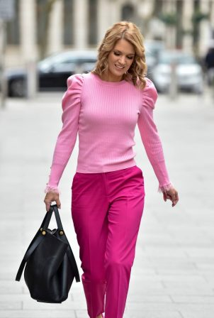 Charlotte Hawkins - All in pink at Classic FM in London