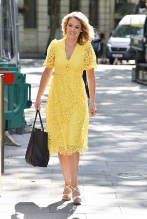 Charlotte Hawkins - In a yellow summer dress at Classic FM in London