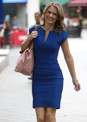 Charlotte Hawkins  in Blue Dress out in London