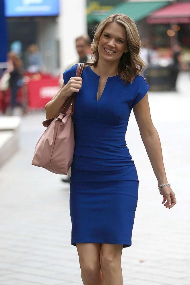 Charlotte Hawkins  in Blue Dress out in London