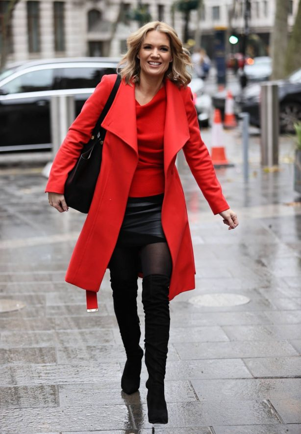 Charlotte Hawkins - In leather mini skirt and high boots in London