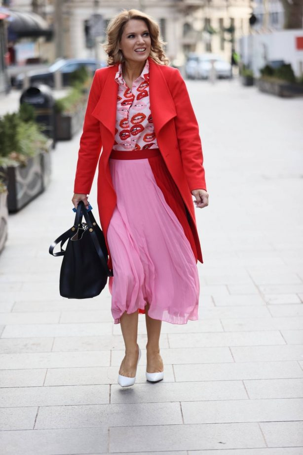 Charlotte Hawkins - In pink skirt at Global radio in London