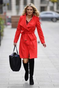 Charlotte Hawkins in Red Coat at Global House in London