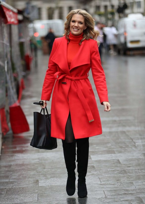 Charlotte Hawkins in Red Coat - Exits Global Offices in in London