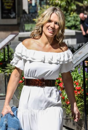 Charlotte Hawkins - In white dress leaving The Global Radio Studios