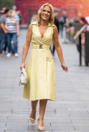 Charlotte Hawkins - In Yellow dress seen arriving at Global Studios in London