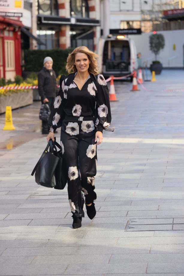 Charlotte Hawkins - Out in a floral jump suit at Classic FM in London