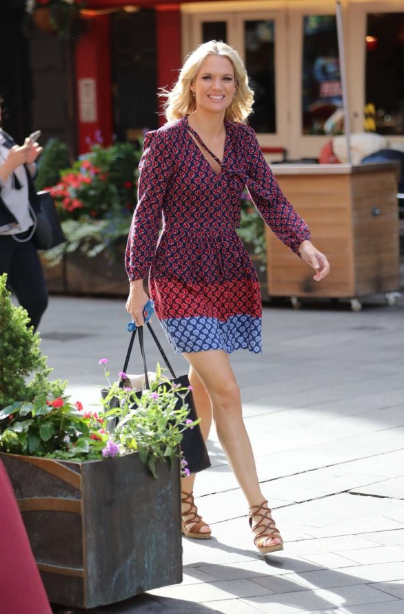 Charlotte Hawkins wears dress at Global Offices in London