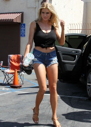 Charlotte McKinney in Jeans Shorts at DWTS Rehearsals in LA