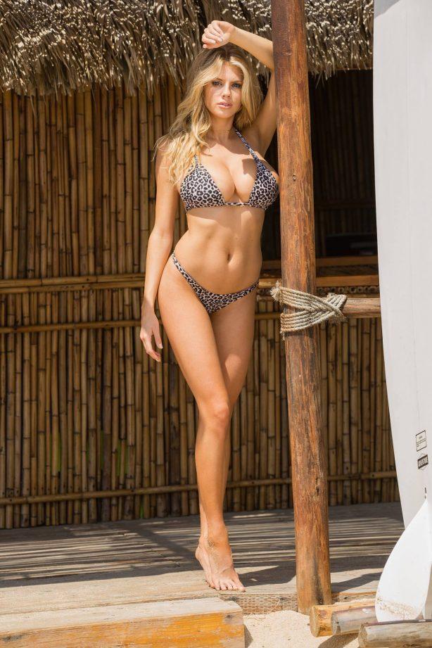 Charlotte McKinney - In a leopard print bikini at the beach in LA