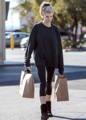 Charlotte McKinney in Black Leggings - Shopping in Los Angeles