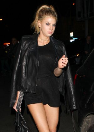 Charlotte McKinney in Black Short Dress at Delilah in West Hollywood