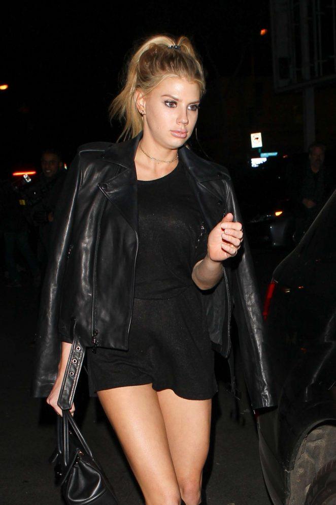 Charlotte McKinney in Black Short Dress at Delilah in West Hollywood