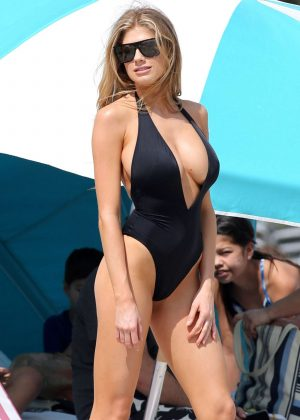 Charlotte McKinney in Black Swimsuit at the beach in Miami