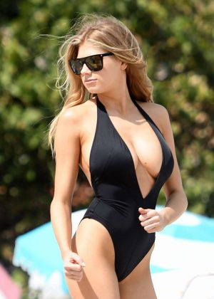 Charlotte McKinney in Black Swimsuit on Miami Beach adds