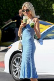 Charlotte McKinney in Blue Dress - Leaves Cha Cha Matcha in West Hollywood