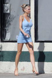 Charlotte McKinney in Blue Mini Dress - Out in Venice