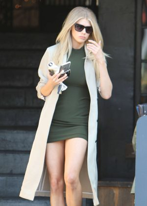 Charlotte McKinney in Green Short Dress in West Hollywood