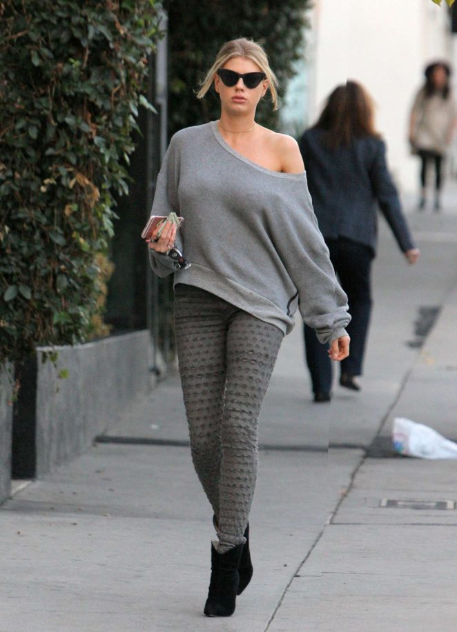 Charlotte McKinney in Grey Tights out in Los Angeles