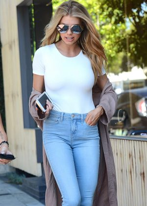 Charlotte  McKinney in Jeans out for coffee in West Hollywood