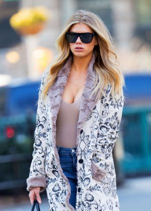 Charlotte McKinney in Long Coat out in New York