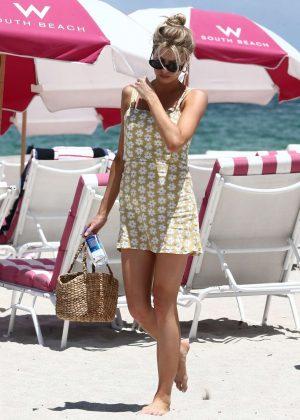 Charlotte McKinney in Mini Dress on the beach in Malibu