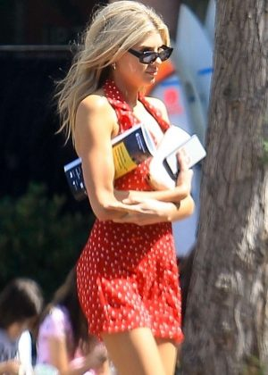 Charlotte McKinney in Mini Red Polka Dot Dress in Malibu
