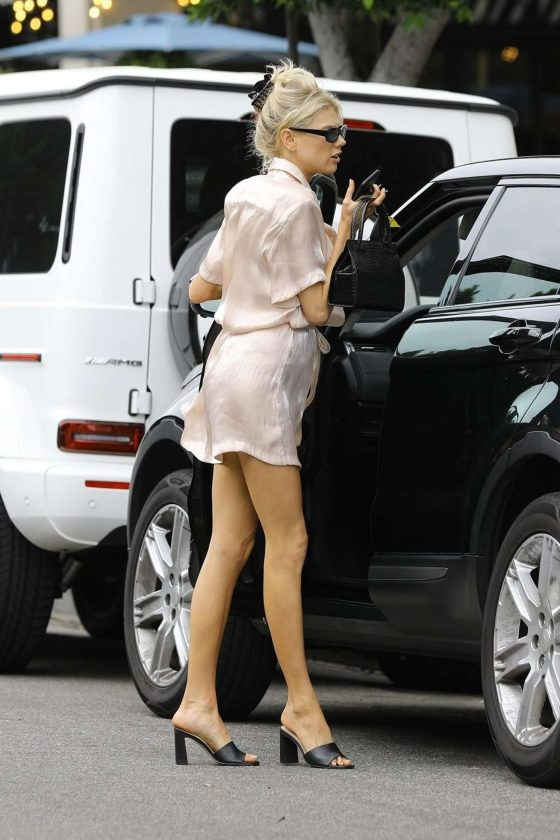 Charlotte McKinney in Pink Mini Dress - Out in Los Angeles