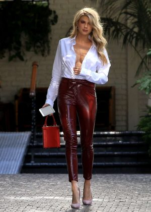 Charlotte McKinney – In red leather pants as she leaves ...