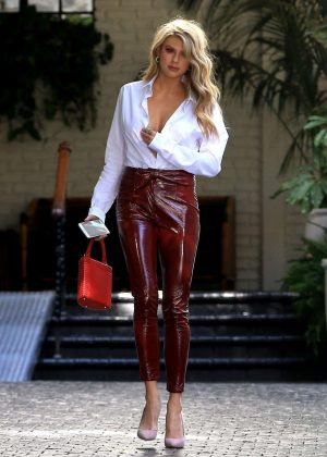 Charlotte Mckinney In Red Leather Pants As She Leaves