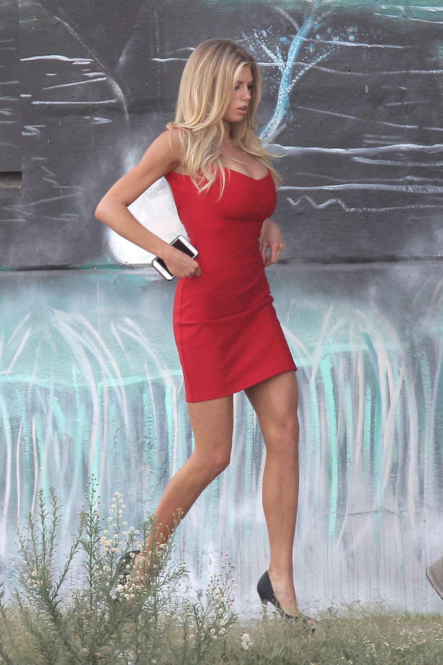 Charlotte Mckinney In Red Mini Dress 08 Gotceleb