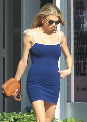 Charlotte McKinney in Tight Blue Dress in West Hollywood