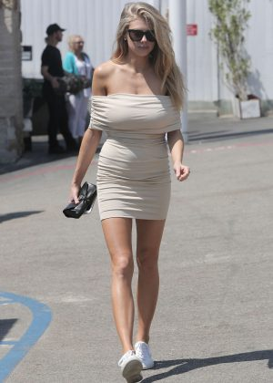 Charlotte McKinney in Tight Short Dress Out in Malibu