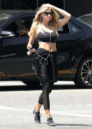Charlotte McKinney in Tights Leaves the gym in LA
