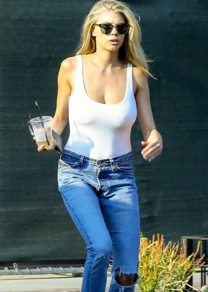 Charlotte McKinney in White Tank and Jeans out in West Hollywood