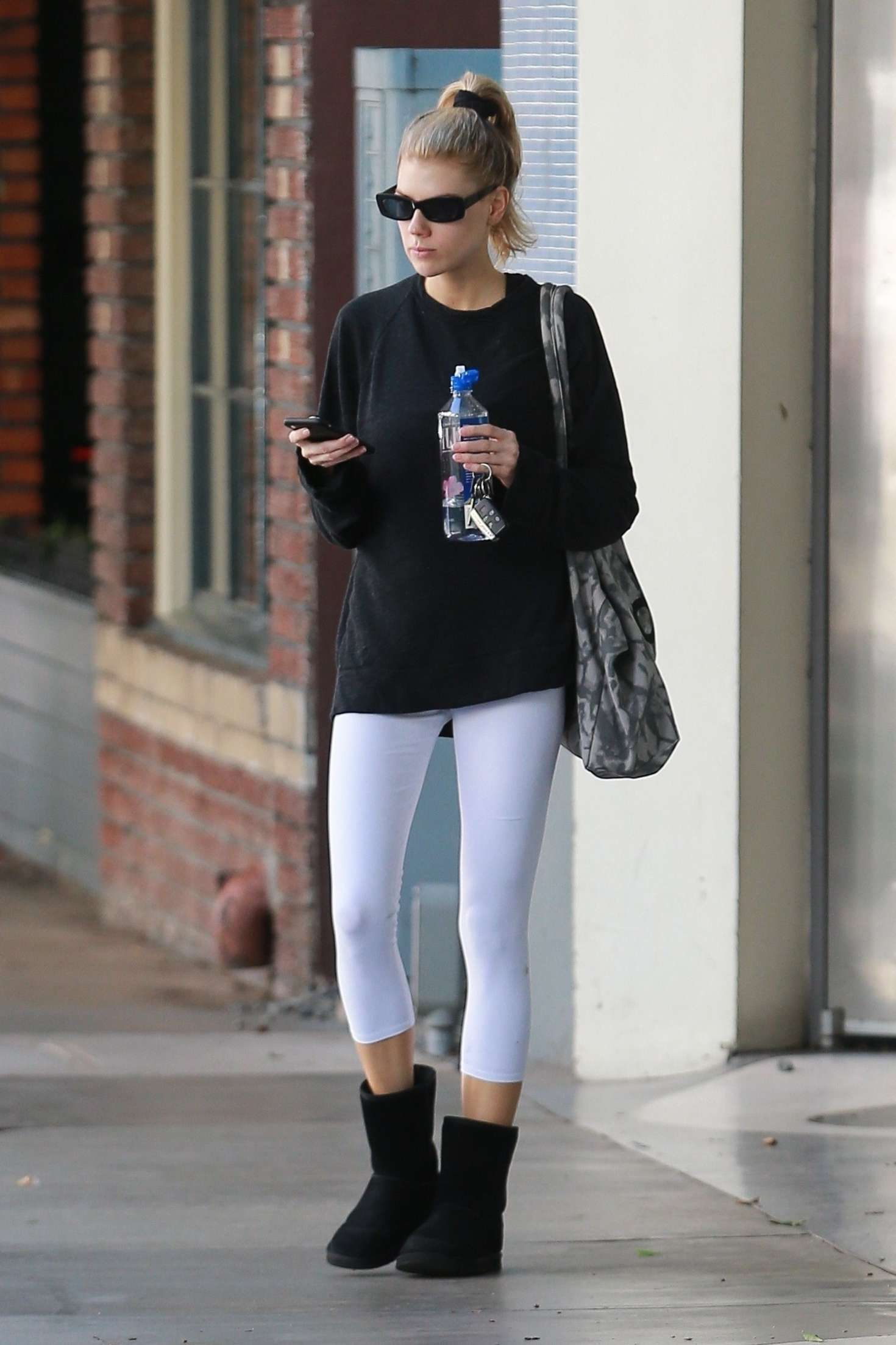 Charlotte McKinney in White Tights – Leaving Yoga in Santa Monica