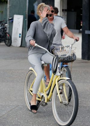 Charlotte McKinney Riding a Bike in Santa Monica