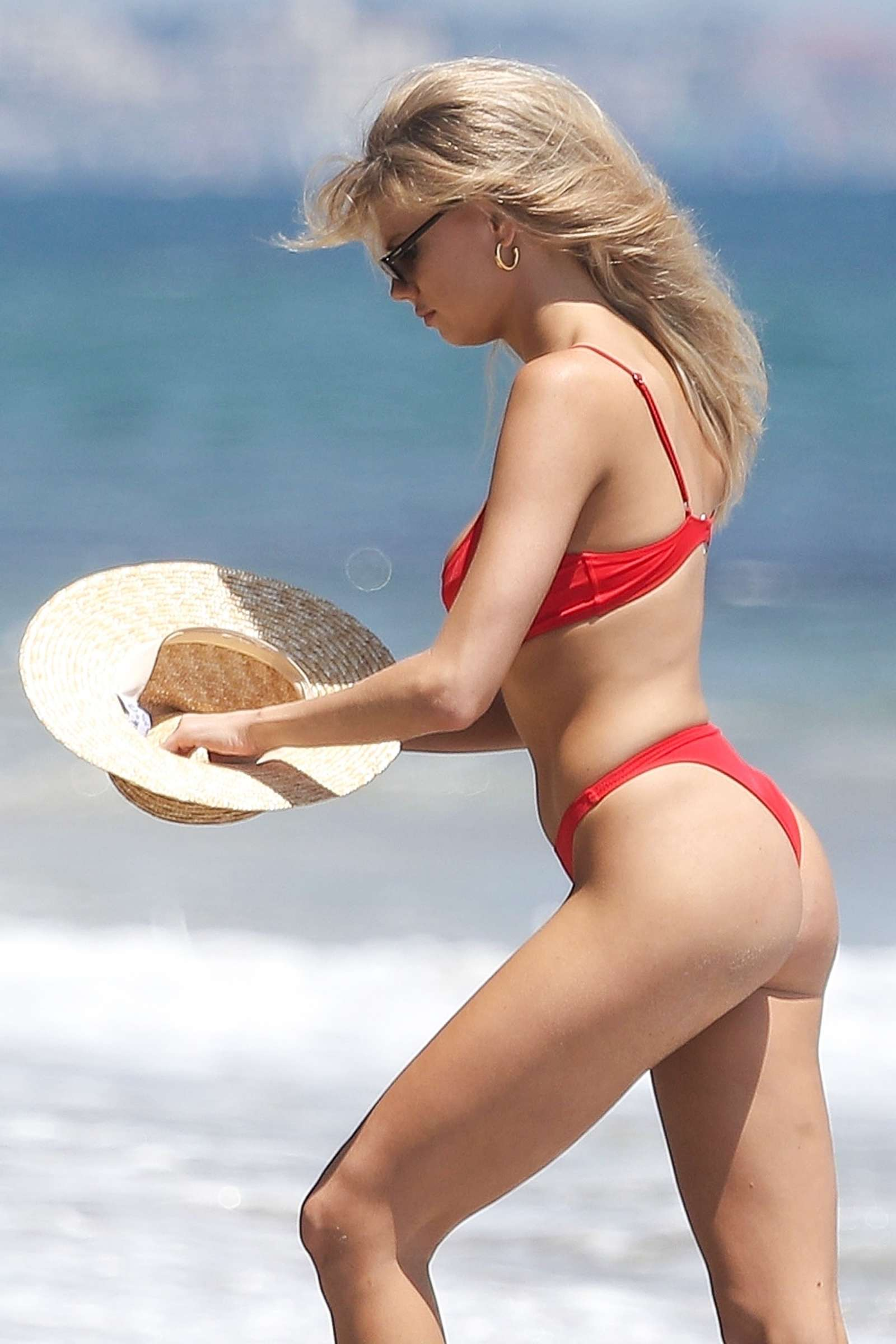 charlotte mckinney seen wearing a red bikini at the