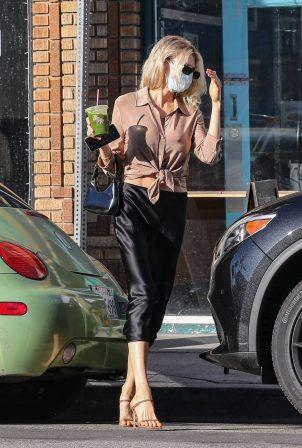 Charlotte McKinney - Wearing a shiny black skirt in Santa Monica