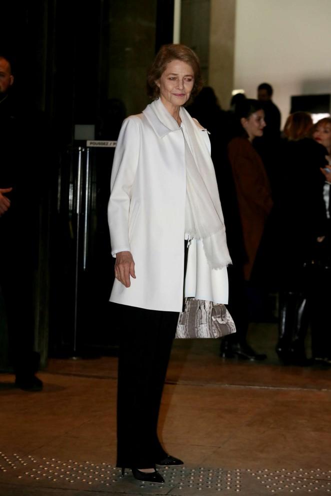 Charlotte Rampling Arrivals at Giorgio Armani Fashion Show Spring Summer 2016 in Paris