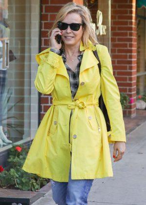 Chelsea Handler in Yellow Coat visiting her doctors office in Beverly Hills