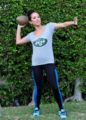 Cheryl Burke in Tights Playing Ball in the Park in LA