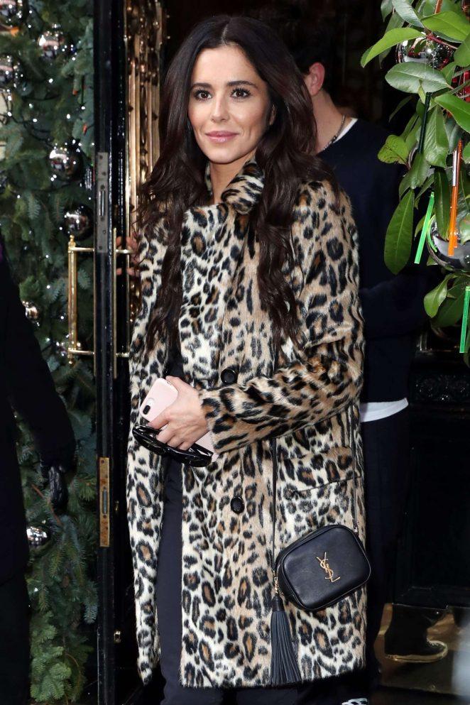 Cheryl Tweedy in Animal Print Coat - Scott's Eatery in Mayfair