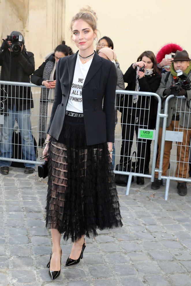 Chiara Ferragni - Arrives at Dior Fall Winter 2017 Show in Paris
