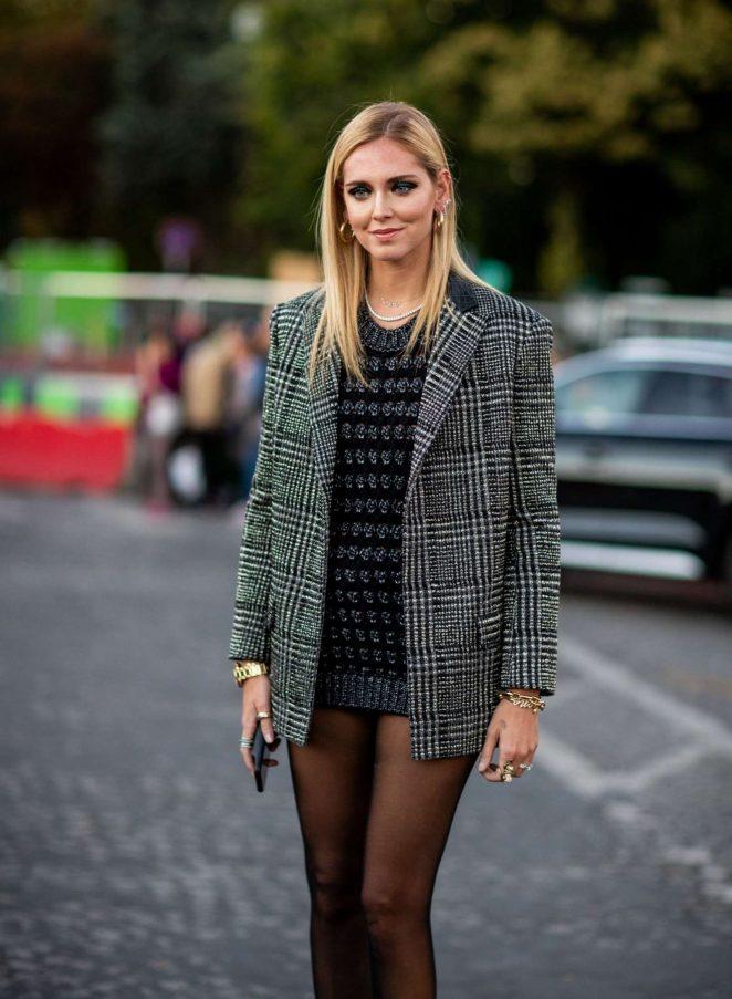 Chiara Ferragni – Arrives at Saint Laurent Fashion Show in Paris